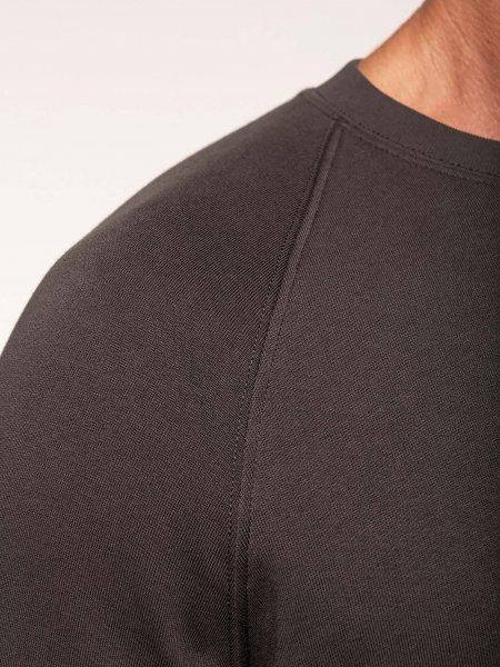 Détails col et manche raglan du sweatshirt pro 100% coton WK402 en coloris Dark Grey