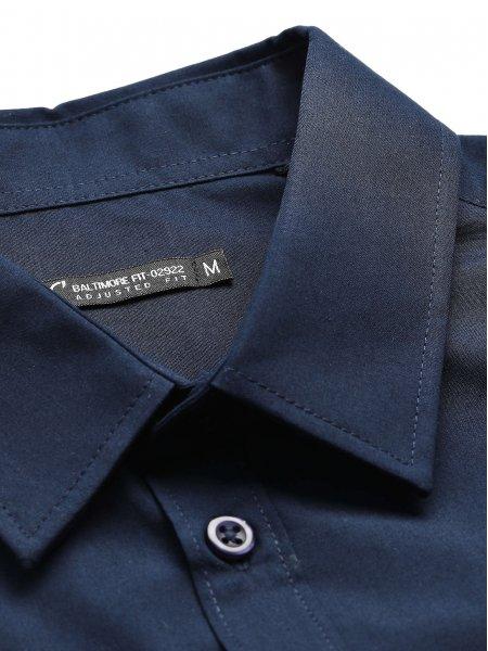 Col classique renforcé sur la chemise Baltimore Fit en coloris bleu foncé