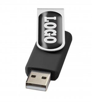 La clé USB rotative avec doming à personnaliser en coloris Noir