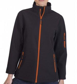 Le mannequin femme porte la veste softshell à zips bicolores PK769 à personnaliser en coloris Black Orange
