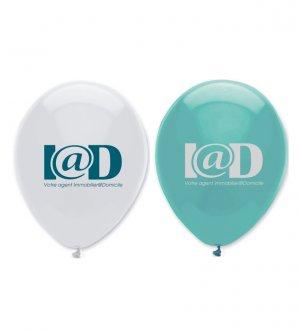 Le ballon de baudruche à personnaliser en coloris Blanc et Turquoise