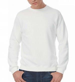 Le mannequin homme porte le sweat CGWUI20 à personnaliser en coloris White