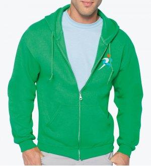 Le mannequin homme porte le sweat zippé à capuche GI18600 personnalisable en coloris Green