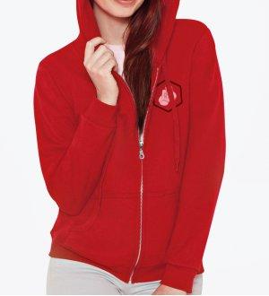 71aa9a5873c Le mannequin femme porte le sweat à capuche zippé GI18600FL à personnaliser  en coloris Red
