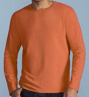 Le mannequin homme porte le t-shirt à manches longues et col rond GI64400 à b5bbac9dbab8