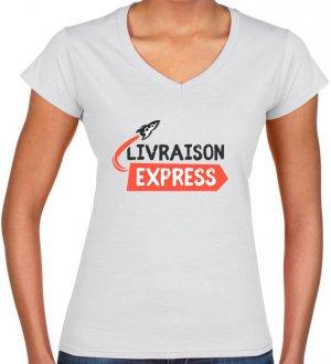 T-shirt col V pour femme livré en 48h chez vous en coloris white