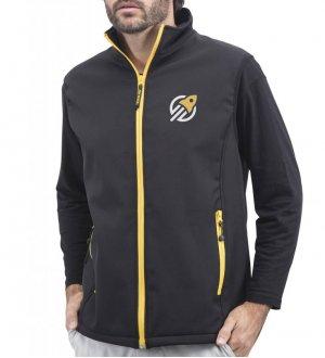 Le mannequin homme porte le bodywarmer softshell PK330 à zips bicolores à personnaliser en coloris black gold
