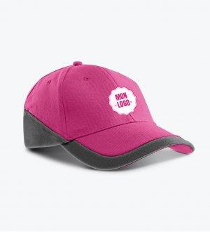 La casquette à personnaliser KP045 en coloris Fuchsia / Dark Grey