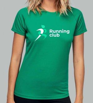 Le mannequin femme porte le t-shirt respirant PA439 à personnaliser en coloris Kelly Green