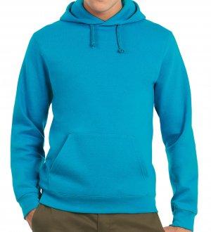 Le mannequin homme porte le sweat CGWUI21 à capuche et poche kangourou à personnaliser en coloris Atoll