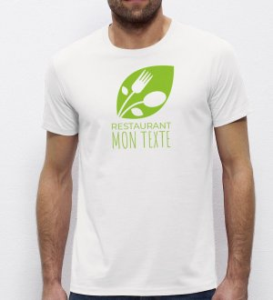 Exemple de logo imprimé sur un t-shirt Stanley / Stella blanc