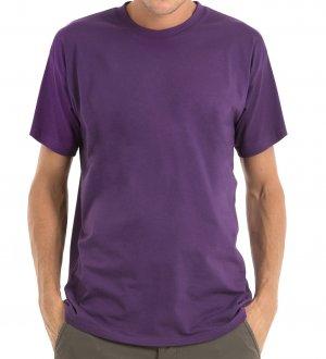 Le mannequin homme porte le t-shirt CG190 à manches courtes et col rond en tissu épais à personnaliser en coloris Purple