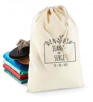 Le sac pochon à cordelettes en coton W115 à personnaliser en coloris Natural